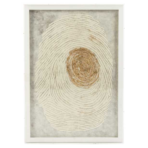 Gilded Ivory Thumbprint Abstract Paper Wall Art - Kathy Kuo Home