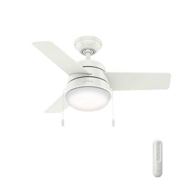 Hunter Aker 30 in. LED Indoor Fresh White Ceiling Fan with Light and bundled Handheld Remote Control - Home Depot