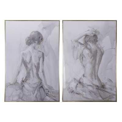 'Artist Figure Sketches' 2 Piece Print Set on Wood - Birch Lane