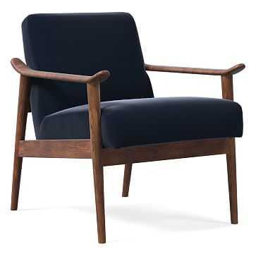 Midcentury Show Wood Chair, Poly, Astor Velvet, Ink Blue, Pecan - West Elm