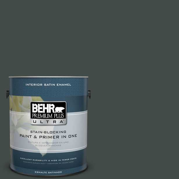 BEHR Premium Plus Ultra Home Decorators Collection 1 gal. #hdc-CL-21 Sporting Green Satin Enamel Interior Paint and Primer in One, Turquoises/Aquas - Home Depot
