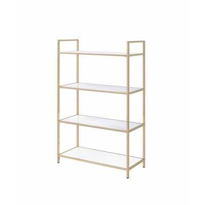 Book Case With 4 White High Gloss Shelves In Gold Finish - Wayfair