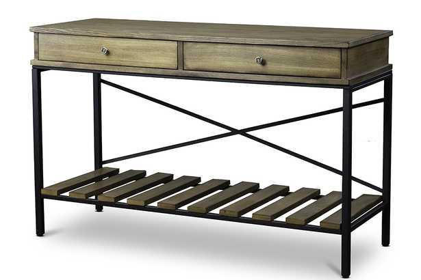 Baxton Studio Newcastle Wood and Metal Console Table-Criss-Cross - Lark Interiors