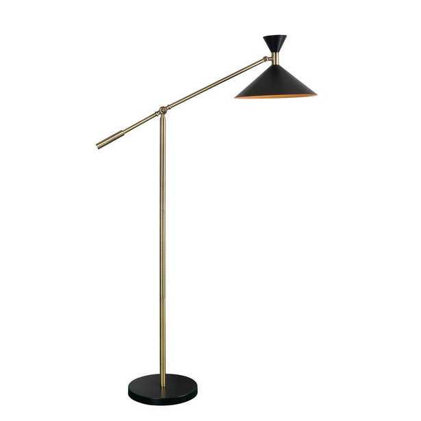 Kenroy Home Arne 53 in. Black Floor Lamp with Metal Shade - Home Depot