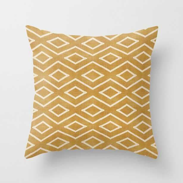 """Stitch Diamond Tribal in Gold Throw Pillow - Outdoor Cover (18"""" x 18"""") with pillow insert by Beckybailey1 - Society6"""