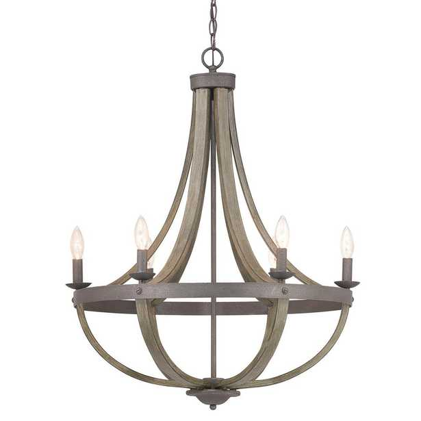 Progress Lighting Keowee 6-Light Artisan Iron Chandelier with Distressed Elm Wood Accents - Home Depot