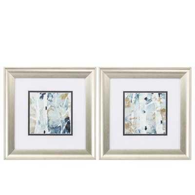 'Blue Watercolor' 2 Piece Framed Painting Print Set - Wayfair