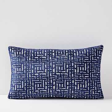 "Allover Crosshatch Jacquard Velvet Lumbar Pillow Cover, 12""x21"", Nightshade - West Elm"