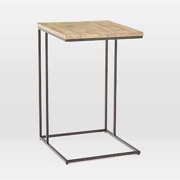 Streamline C-Side Table, Whitewash, Antique Bronze-Individual - West Elm