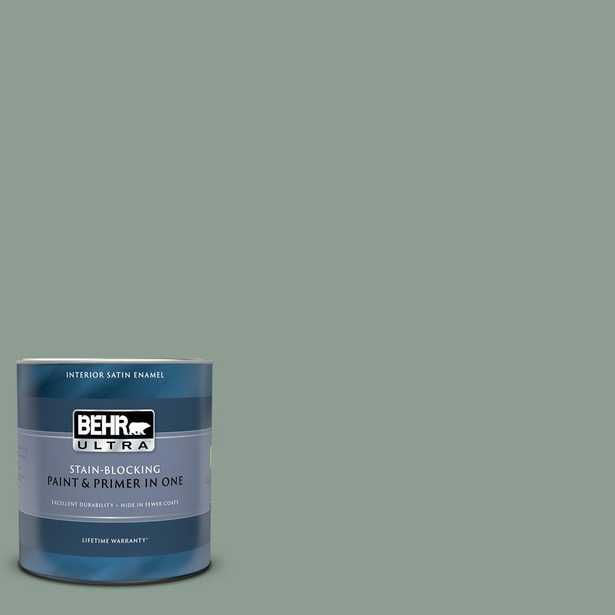 BEHR ULTRA 1 qt. #ICC-104 Balsam Fir Satin Enamel Interior Paint and Primer in One - Home Depot