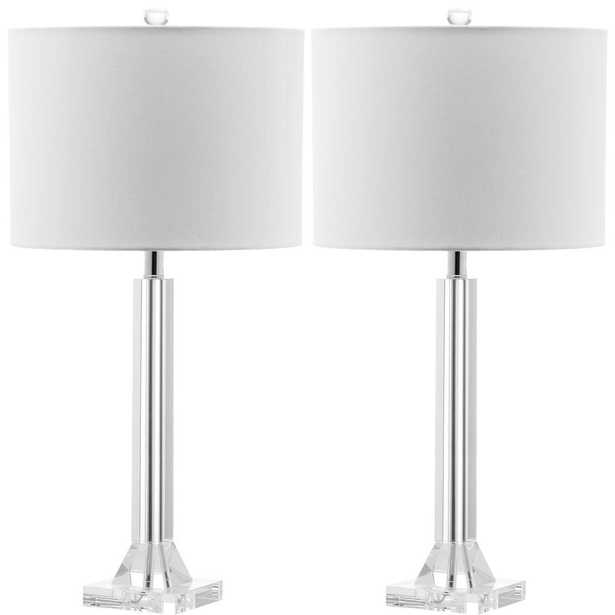 Safavieh Tyrone 27 in. Clear Crystal Column Lamp (Set of 2) - Home Depot