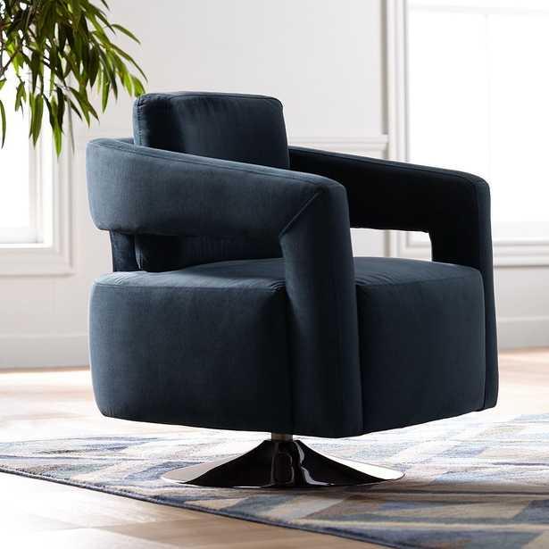 Turbo Slate Blue Open Arm Swivel Chair - Style # 53V38 - Lamps Plus