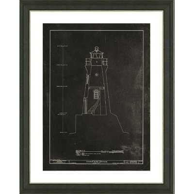 'Slate Lighthouse Patent I' Framed Graphic Art Print - Birch Lane