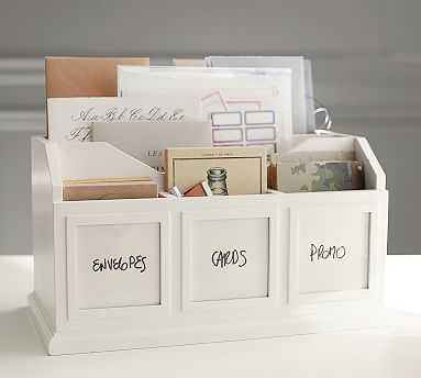 Bedford Photo Caddy, Antique White - Pottery Barn