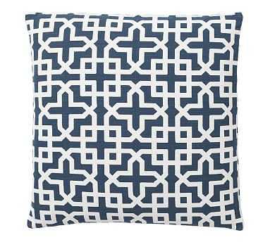 "Holt Trellis Jacquard Pillow Cover, 24"", Blue - Pottery Barn"