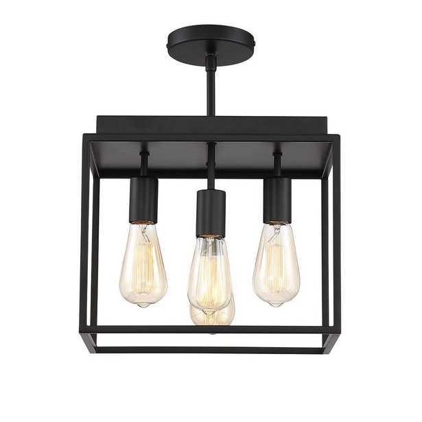Home Decorators Collection Rollins 13 in. 4-Light Black Semi-Flush Mount Light - Home Depot