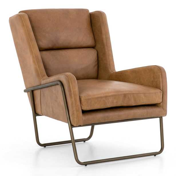 Annete Modern Upholstered Brown Leather Brass Occasional Chair - Kathy Kuo Home