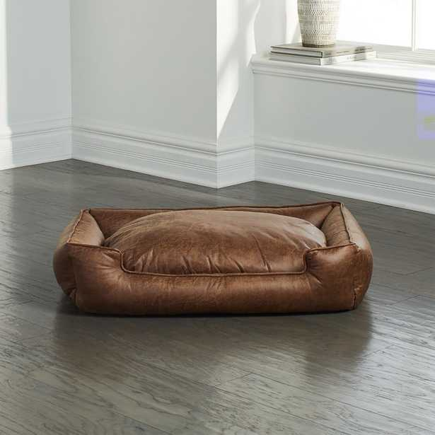 Lounge Faux Leather Vintage Medium Dog Bed - Crate and Barrel