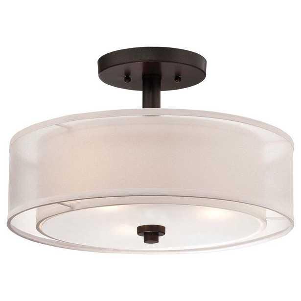 Minka Lavery Parsons Studio 3-Light Smoked Iron Semi-Flush Mount Light - Home Depot