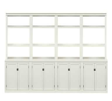 Logan Small Wall Suite with Open Shelving, Antique White - Pottery Barn