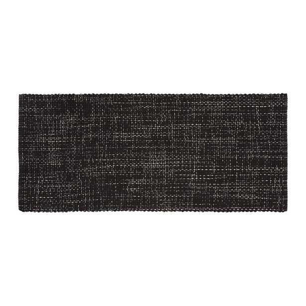 Della Black Cotton Flat Weave Rug Runner 2.5x6 - Crate and Barrel