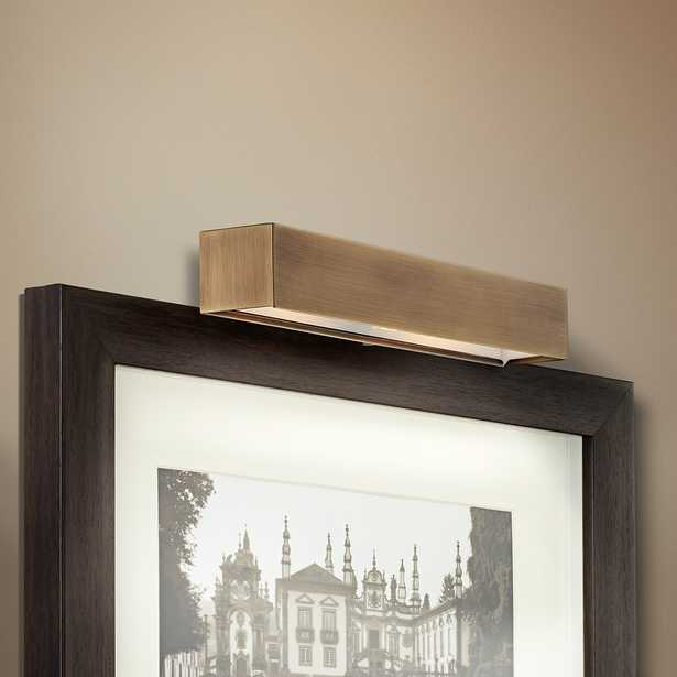 """Ralston 14"""" Wide Antique Brass Plug-In Picture Light - Style # 2V796 - Lamps Plus"""