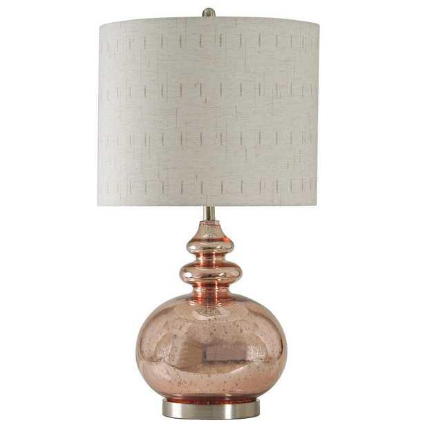 StyleCraft 34 in. Gemvara Rose Gold Table Lamp with Beige Designer Print Hardback Fabric Shade - Home Depot