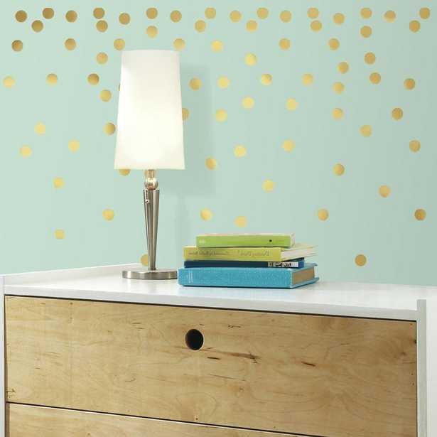5 in. W x 11.5 in. H Gold Confetti Dots 90-Piece Peel and Stick Wall Decal, Metallics - Home Depot