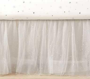 Shimmer Tulle Crib Skirt, Cribskirt, Silver - Pottery Barn Kids