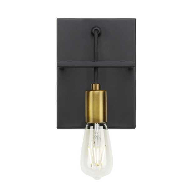 LBL Lighting Tae 1-Light Black/Aged Brass Sconce - Home Depot