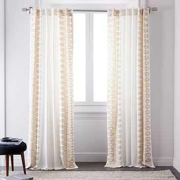 "Oceania Border Curtain, Set Of 2, Horseradish, 48""X96"" - West Elm"