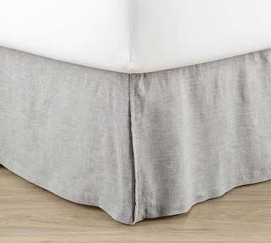 Basic Belgian Linen Bedskirt, King, Flagstone - Pottery Barn