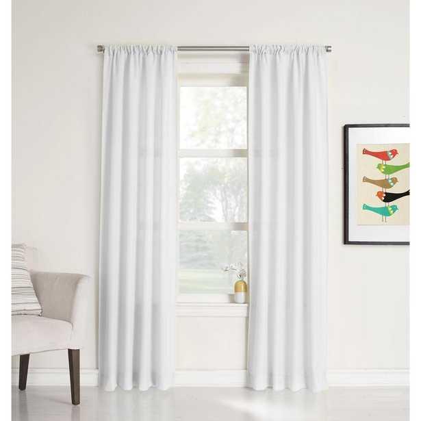LICHTENBERG Sheer White No. 918 Millennial Ryan Heathered Texture Sheer Curtain Panel, 40 in. W x 95 in. L - Home Depot