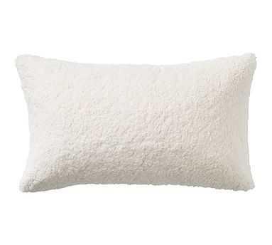 "Faux Sheepskin Pillow, 16x26"", Ivory - Pottery Barn"