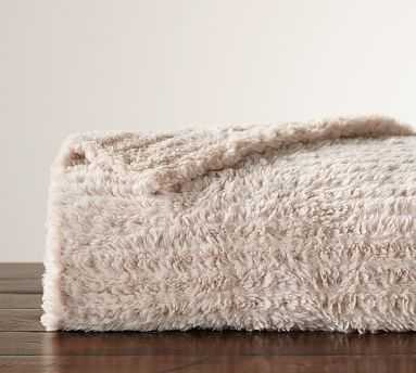 Knitted Faux Fur Oversized Throw, 60x80 Inches, Blush - Pottery Barn