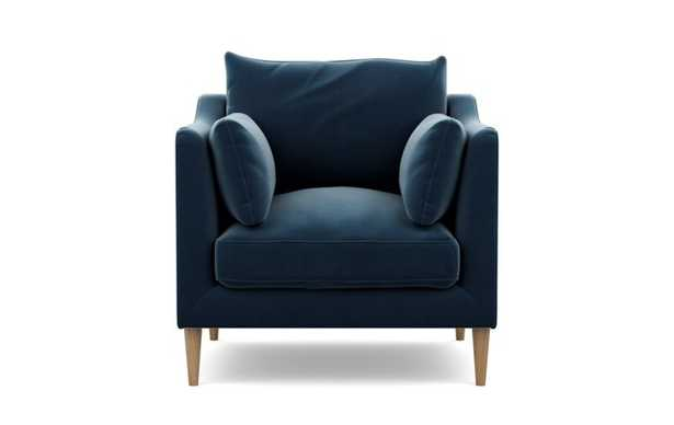 Caitlin by The Everygirl Petite Chair with Sapphire Fabric and Natural Oak legs - Interior Define