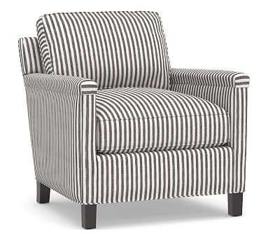 Tyler Square Arm Upholstered Armchair without Nailheads, Down Blend Wrapped Cushions, Vintage Stripe Black/Ivory - Pottery Barn