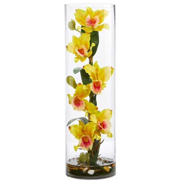 20 in. High Cattleya Yellow Orchid Artificial Floral Arrangement in Cylinder Vase - Home Depot