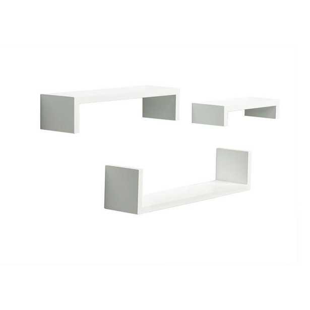4 in. x 18 in. Floating White Ledge Set Decorative Shelf Kit - Home Depot