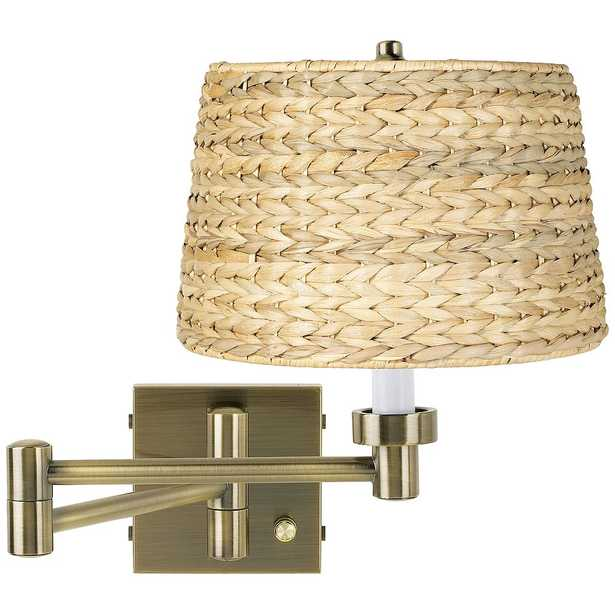 Woven Seagrass Antique Brass Plug-In Swing Arm Wall Lamp - Style # 17R01 - Lamps Plus