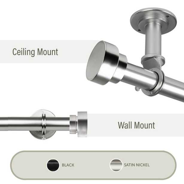 Rod Desyne Bonnet Ceiling 48 in. - 84 in., 1 in. Dia Curtain Rod/ Room Divider in Satin Nickel - Home Depot