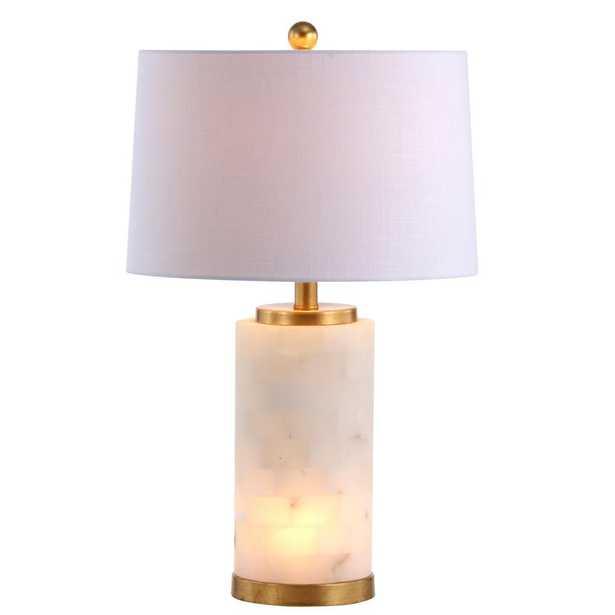 JONATHAN  Y Eliza 25.5 in. Alabaster LED Table Lamp, White/Gold Leaf - Home Depot