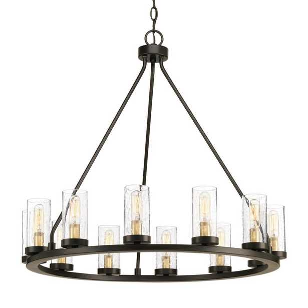 Progress Lighting Hartwell 26.63 in. 12-Light Antique Bronze Chandelier with Clear Seeded Glass and Natural Brass Accents - Home Depot