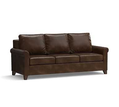 """Cameron Roll Arm Leather Sofa 90.5"""", Polyester Wrapped Cushions, Leather Vintage Cocoa - Pottery Barn"""