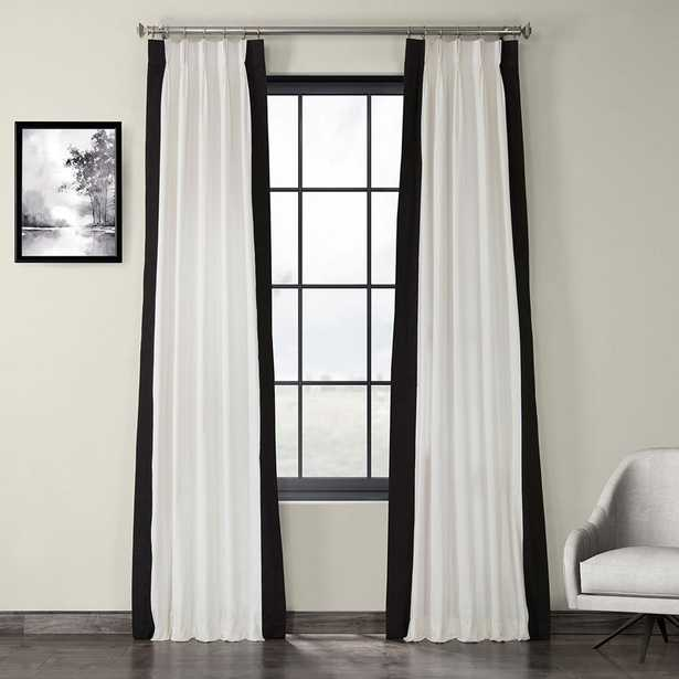 Exclusive Fabrics & Furnishings Fresh Popcorn and Black Room Darkening Pleated Vertical Colorblock Curtain - 25 in. W x 120 in. L - Home Depot