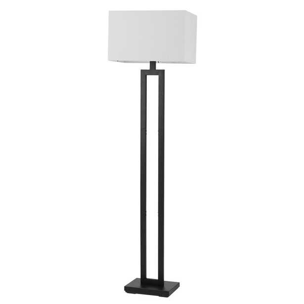 Globe Electric D'Alessio 58 in. Matte Black Floor Lamp with White Linen Shade - Home Depot