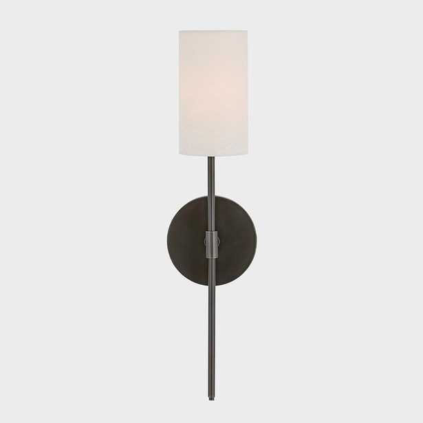 Fifth and Main Lighting Ollie 1-Light Old Bronze Wall Sconce with White Linen Shade - Home Depot