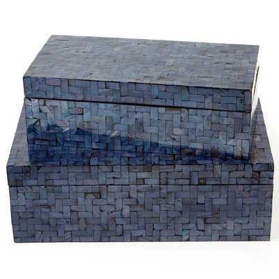 Shimmering 2 Piece Decorative Box Set with Herringbone Pattern - Wayfair