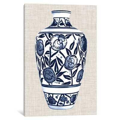 'Blue & White Vase IV' Graphic Art Print on Canvas - Wayfair