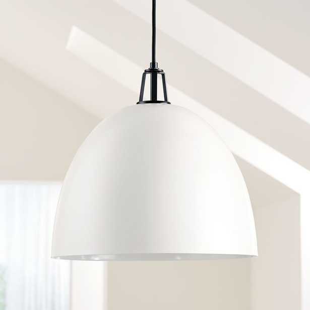 Maddox White Dome Pendant Large with Black Socket - Crate and Barrel